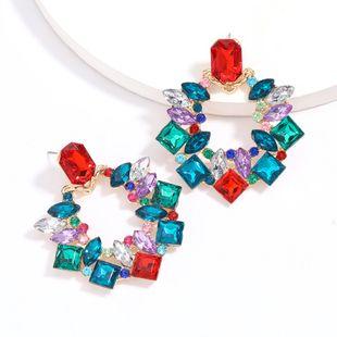 Fashion color diamond exaggerated alloy diamond acrylic earrings retro diamond earrings wholesale nihaojewelry NHJE229206's discount tags