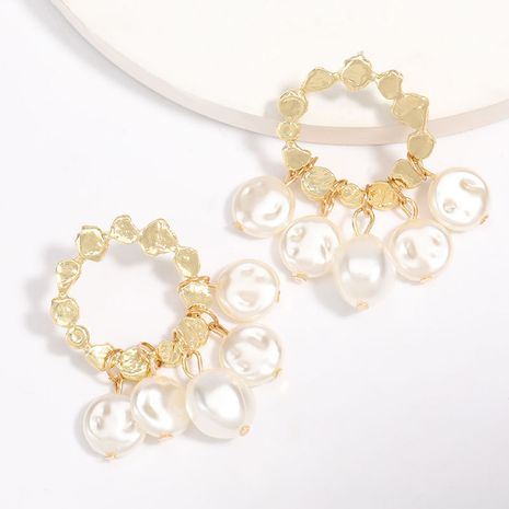 À la mode simple en alliage rond multi-couche perles boucles d'oreilles gland S925 argent aiguille boucles d'oreilles hypoallergénique gros nihaojewelry NHJE229208's discount tags