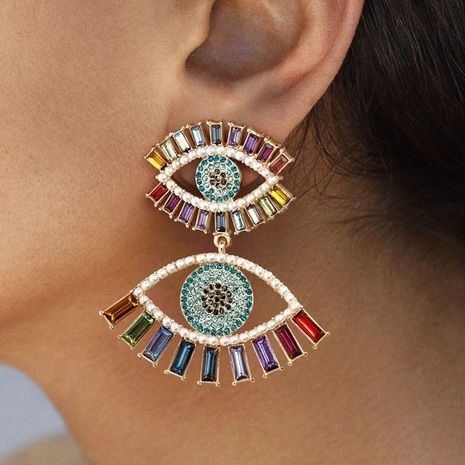 Fashion color diamond series exaggerated big-name multi-layer rhinestone diamond earrings wholesale nihaojewelry NHJE229211's discount tags