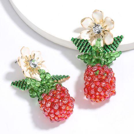 Fashionable summer fruit wind alloy dripping flower resin beads woven earrings creative earrings wholesale nihaojewelry NHJE229212's discount tags