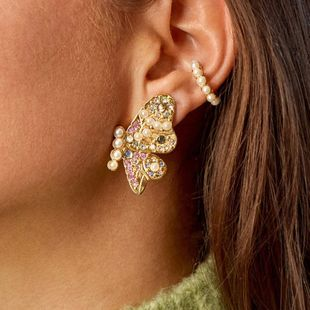 girl heart alloy diamond inlaid pearl butterfly earrings wholesale nihaojewelry NHJE229219's discount tags