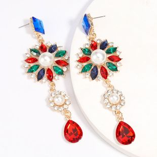Fashion Colored Diamond Series Acrylic Diamond Inlaid Pearl Earrings Trendy Girl Super Fairy Earrings  wholesale nihaojewelry NHJE229220's discount tags