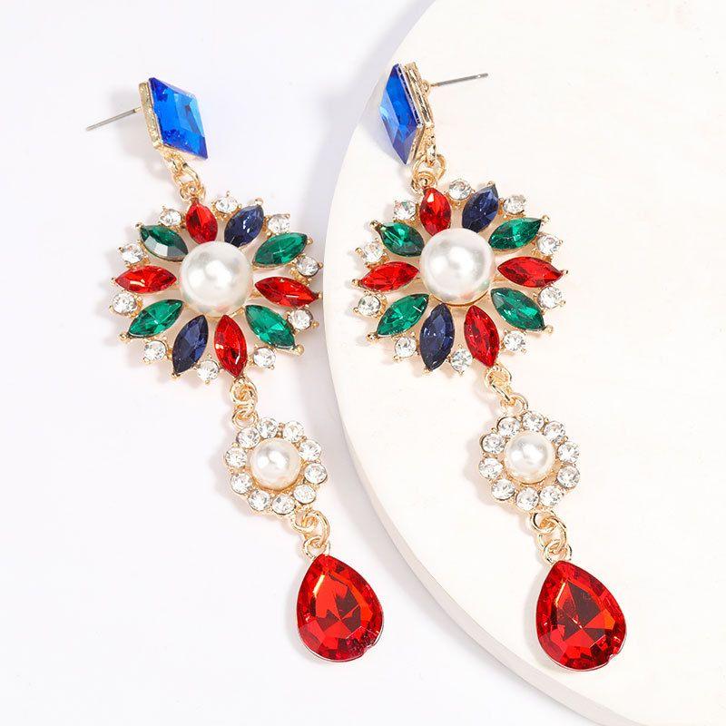 Fashion Colored Diamond Series Acrylic Diamond Inlaid Pearl Earrings Trendy Girl Super Fairy Earrings  wholesale nihaojewelry NHJE229220