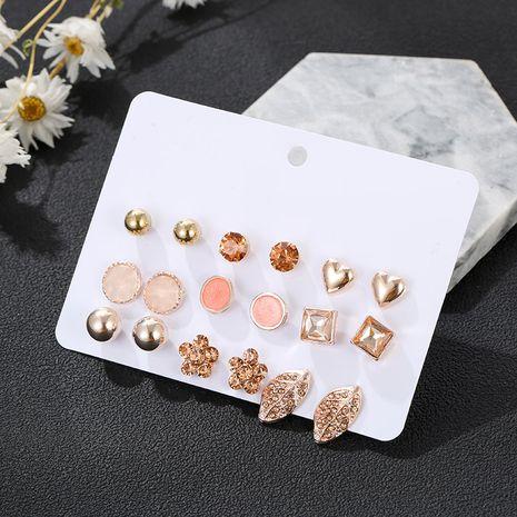 Boucles d'oreilles en diamant d'amour coréen 9 paires d'ensembles tendance boucles d'oreilles goutte d'eau géométrique en gros nihaojewelry NHSD229223's discount tags