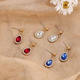 Fashion  romantic water drop rhinestone earrings simple micro-inlay technology silver needle earrings wholesale nihaojewelry NHSD229230's discount tags