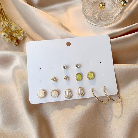 Nouveaux bijoux une semaine boucle d'oreille ensemble combinaison 6 paires de mini simples boucles d'oreilles en forme de C imitation perle en gros nihaojewelry NHSD229231's discount tags