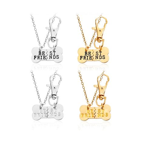 explosion of funds chain good friends two petal splicing pet dog bone necklace wholesale nihaojewelry NHMO229239's discount tags