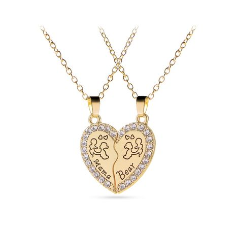 explosion necklace creative letter Mama Bear letter love splicing diamond inlaid pendant necklace accessories wholesale nihaojewelry NHMO229245's discount tags
