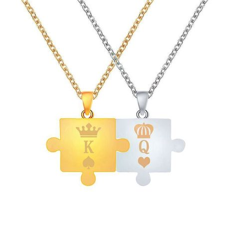 new necklace letter King Queen couple puzzle pendant crown necklace men and women clavicle chain wholesale nihaojewelry NHMO229250's discount tags
