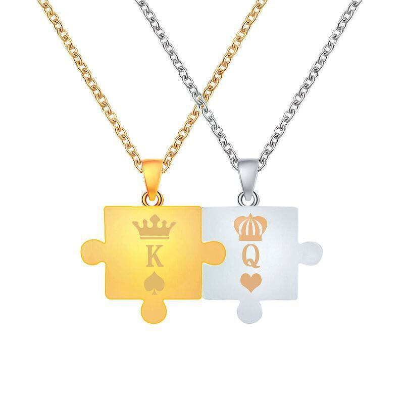 new necklace letter King Queen couple puzzle pendant crown necklace men and women clavicle chain wholesale nihaojewelry NHMO229250