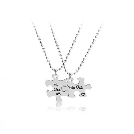 explosion creative new letters Her one His only two petal splicing couple necklace wholesale nihaojewelry NHMO229251's discount tags