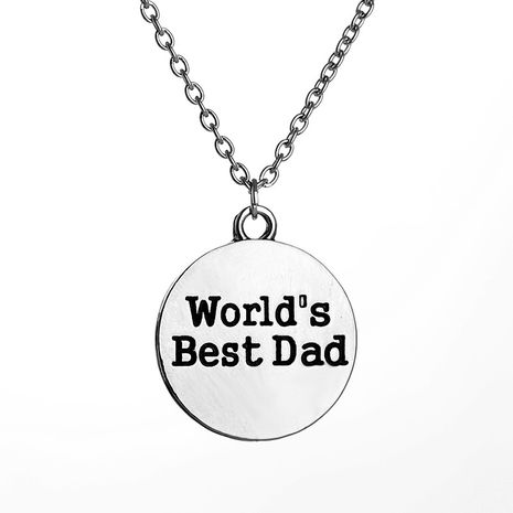 Explosion Necklace Family Series World Is Best Dad English Alphabet Necklace wholesale nihaojewelry NHMO229271's discount tags