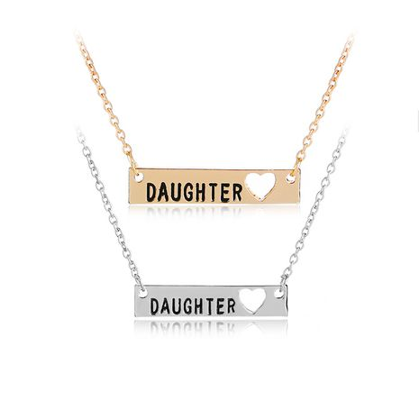 explosion models geometric rectangular tag necklace creative lettering Daughter pendant necklace accessories wholesale nihaojewelry NHMO229281's discount tags