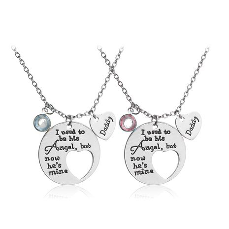 explosion models round tag necklace dripping oil letters Father's Day gift love necklace clavicle chain wholesale nihaojewelry NHMO229282's discount tags