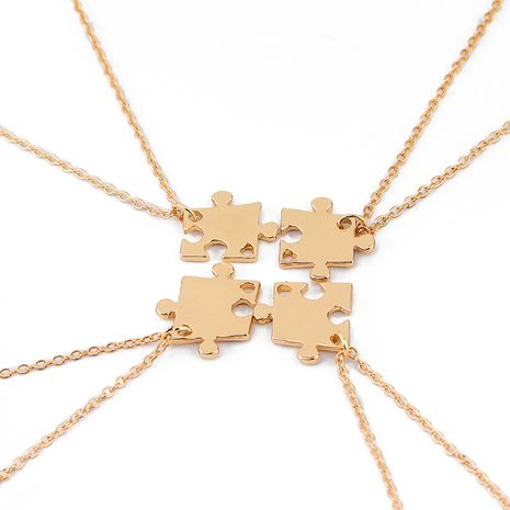 explosion model puzzle necklace four-piece set of creative puzzle stitching good friend necklace clavicle chain accessories wholesale nihaojewelry NHMO229285's discount tags