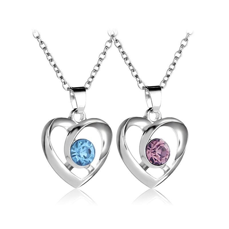 hollow heart peach heart necklace Valentines Day gift fashion heartshaped diamond pendant necklace accessories wholesale nihaojewelry NHMO229288