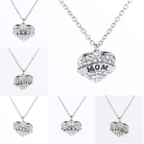jewelry fashion full diamond peach heart pendant necklace family member MOM SISTER necklace wholesale nihaojewelry NHMO229290's discount tags