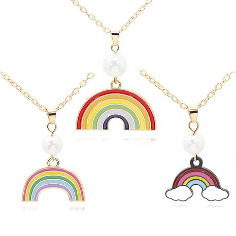 necklace earrings cloud rainbow necklace simple lady student earrings key chain suit wholesale nihaojewelry NHMO229297's discount tags