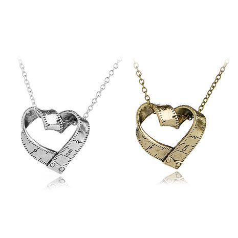 scale necklace clavicle chain creative retro heart-shaped rotating tape measure pendant necklace accessories wholesale nihaojewelry NHMO229298's discount tags