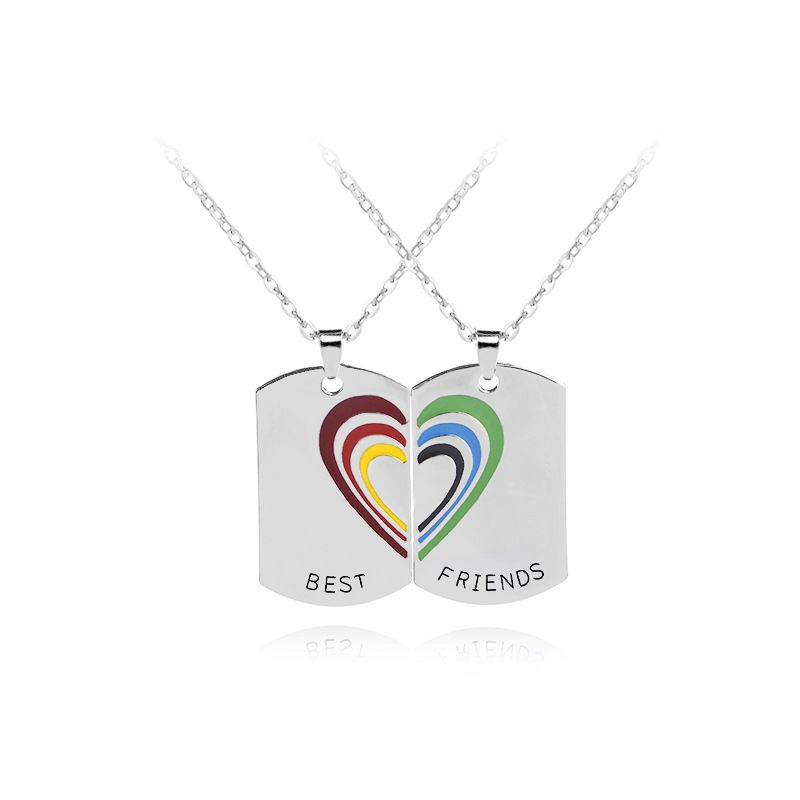 fashion hot selling seven-color rainbow love stitching necklace Best Friend necklace wholesale nihaojewelry NHMO229299