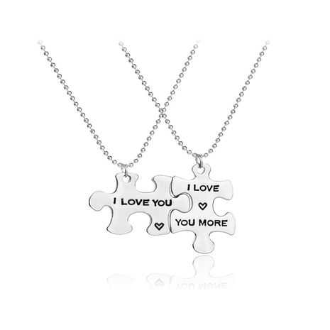 cartoon puzzle pendant necklace creative letter ILoveMore love splicing couple necklace wholesale nihaojewelry NHMO229300's discount tags