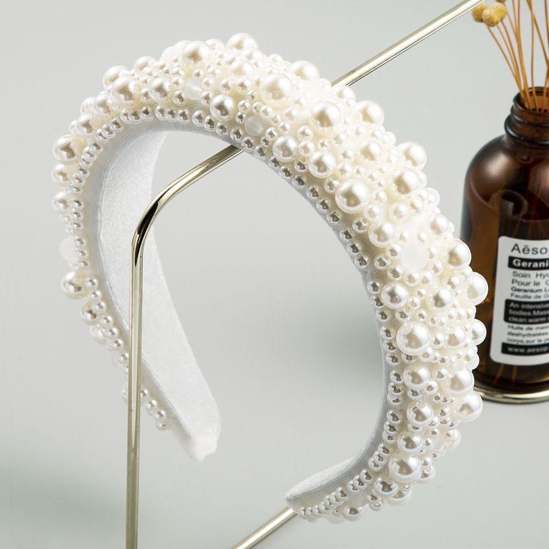 fashion luxury starry pearl hair hoop ladies wide-brimmed sponge retro thickened Baroque headband wholesale nihaojewelry NHLN229312