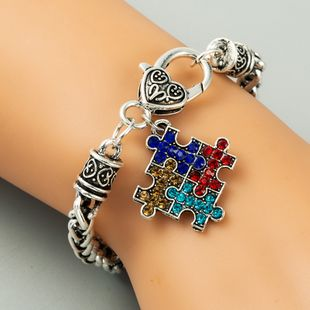 retro alloy puzzle inlaid rhinestone geometric jewelry ladies bracelet jewelry wholesale nihaojewelry NHLN229316's discount tags