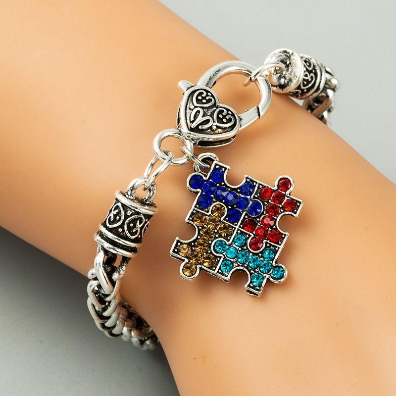 retro alloy puzzle inlaid rhinestone geometric jewelry ladies bracelet jewelry wholesale nihaojewelry NHLN229316