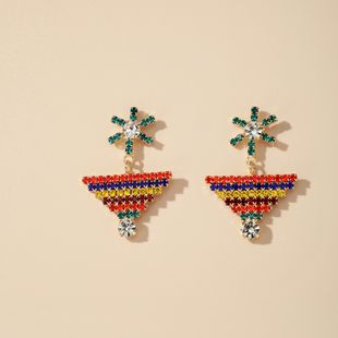 Korean elegant color diamond-set geometric windmill earrings fashion vacation trend earrings jewelry wholesale nihaojewelry NHGY229322's discount tags
