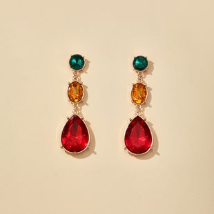 new retro baroque glass color diamond drop earrings small jewelry earrings wholesale nihaojewelry NHGY229323's discount tags