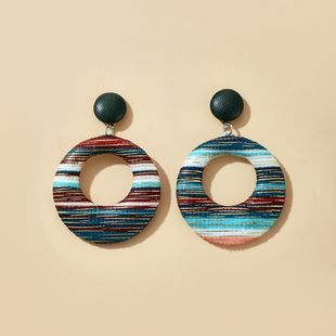 creative simple colorful fabric hollow round earrings retro ethnic wind earrings wholesale nihaojewelry NHGY229325's discount tags