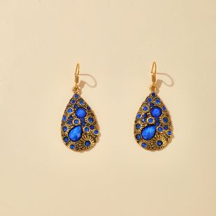 retro bohemian style earrings bronze inlaid sapphire water drop earrings scenic wholesale nihaojewelry NHGY229327's discount tags