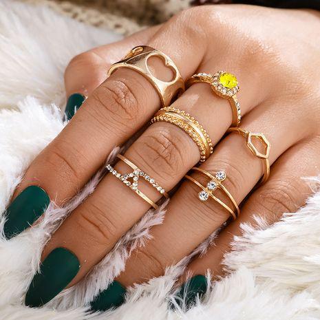 fashion sweet wind suit ring diamond diamond geometric diamond hollow love ring 6 piece set NHGY229329's discount tags