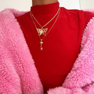 butterfly accessories ladies simple butterfly key pendant necklace door lock multi-layer pendant sweater chain wholesale nihaojewelry NHGY229334's discount tags