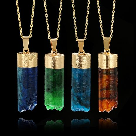 jewelry cylindrical stone necklace broken gradient color cuboid natural stone pendant necklace wholesale nihaojewelry NHGY229337's discount tags