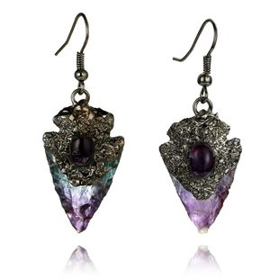 amethyst stone earrings triangle water drop natural original stone inlaid gemstone single earrings wholesale nihaojewelry NHGY229339's discount tags