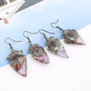 amethyst stone earrings triangle water drop natural original stone inlaid gemstone single earrings wholesale nihaojewelry NHGY229339