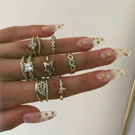 new jewelry rings women fashion hollow love tree leaf opening star diamond ring 9 piece set NHGY229350's discount tags