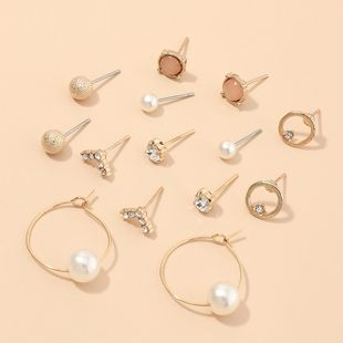 jewelry exquisite geometric small earrings set multi-element pearl earrings wholesale nihaojewelry NHNZ229354's discount tags