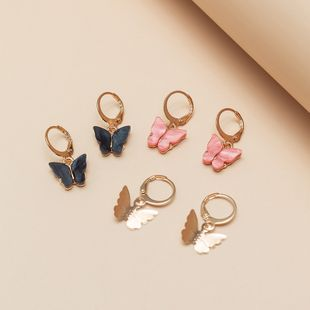 jewelry retro multicolor butterfly suit earrings small earrings wholesale nihaojewelry NHNZ229355's discount tags