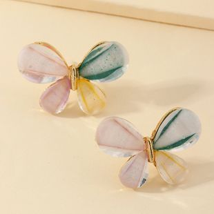 jewelry French butterfly earrings retro contrast color earrings wholesale nihaojewelry NHNZ229356's discount tags