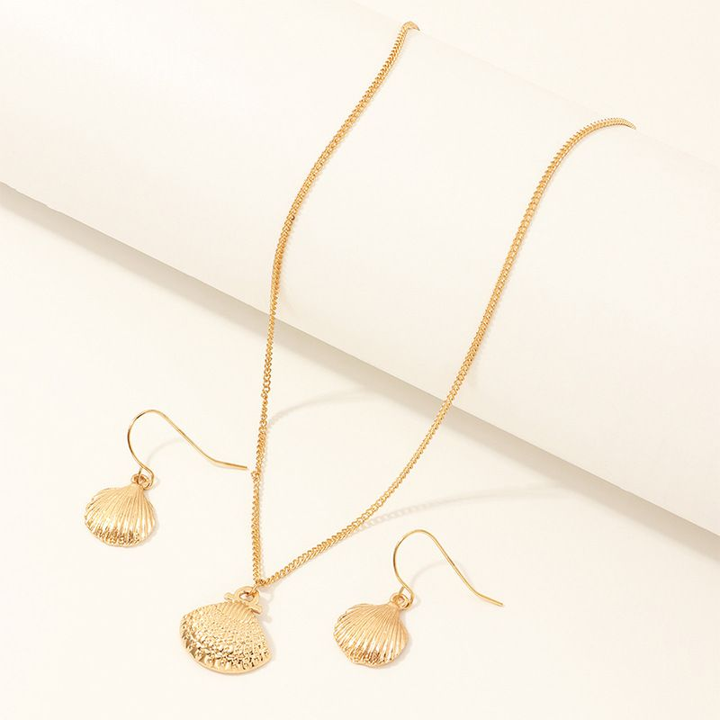 jewelry marine series metal shell necklace scallop earring set wholesale nihaojewelry NHNZ229359