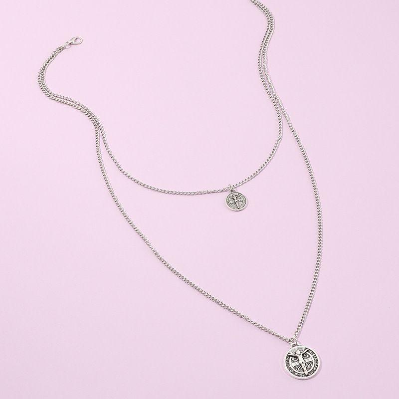 Jewelry Wholesale Fashion Retro Ancient Silver Portrait Pendant Necklace Personalized Double Necklace wholesale nihaojewelry NHNZ229360