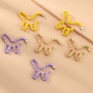 fashion jewelry new taro purple simple hollow earrings retro butterfly earrings wholesale nihaojewelry NHNZ229368's discount tags