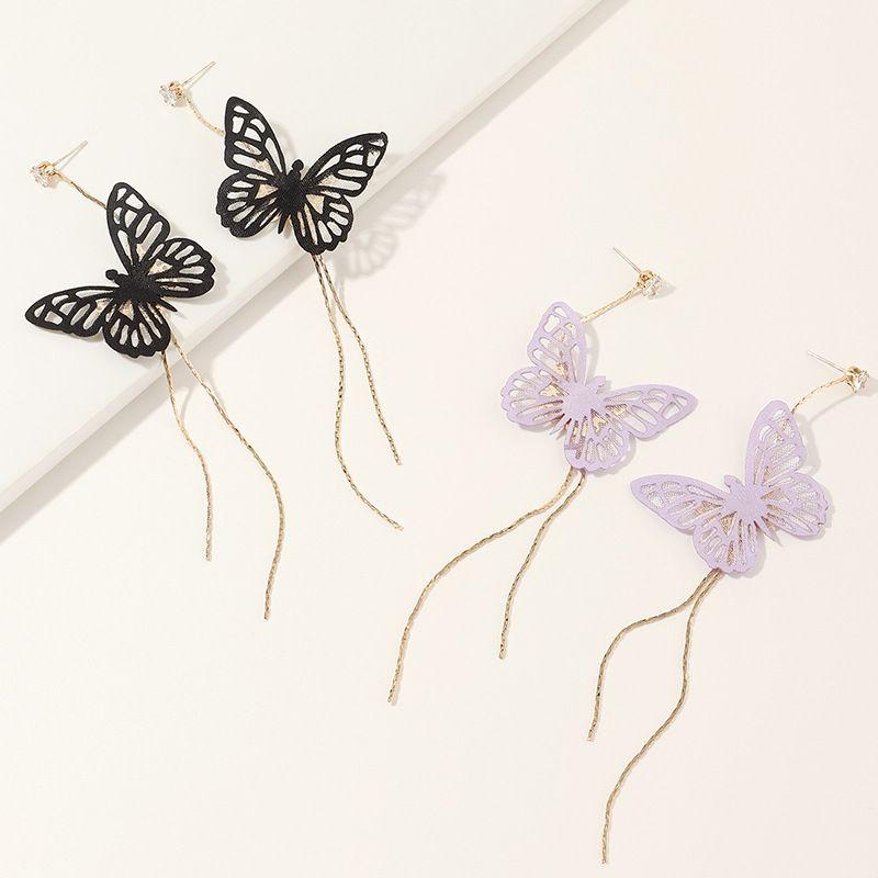 jewelry super fairy delicate butterfly long tassel earrings fashion trend earring wholesale nihaojewelry NHNZ229369