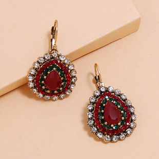 retro creative diamond earrings fashion trend drop-shaped luxury delicate earrings wholesale nihaojewelry NHKQ229432's discount tags