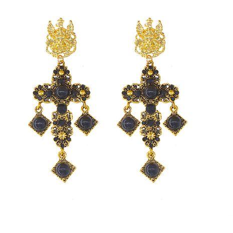Nouveau Baroque croix perles boucles d'oreilles antiques boucles d'oreilles rétro boucles d'oreilles gemme incrusté en gros nihaojewelry NHNT229436's discount tags