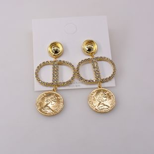 exaggerated earrings new wave Korean retro earrings long coin earrings wholesale nihaojewelry NHNT229441's discount tags