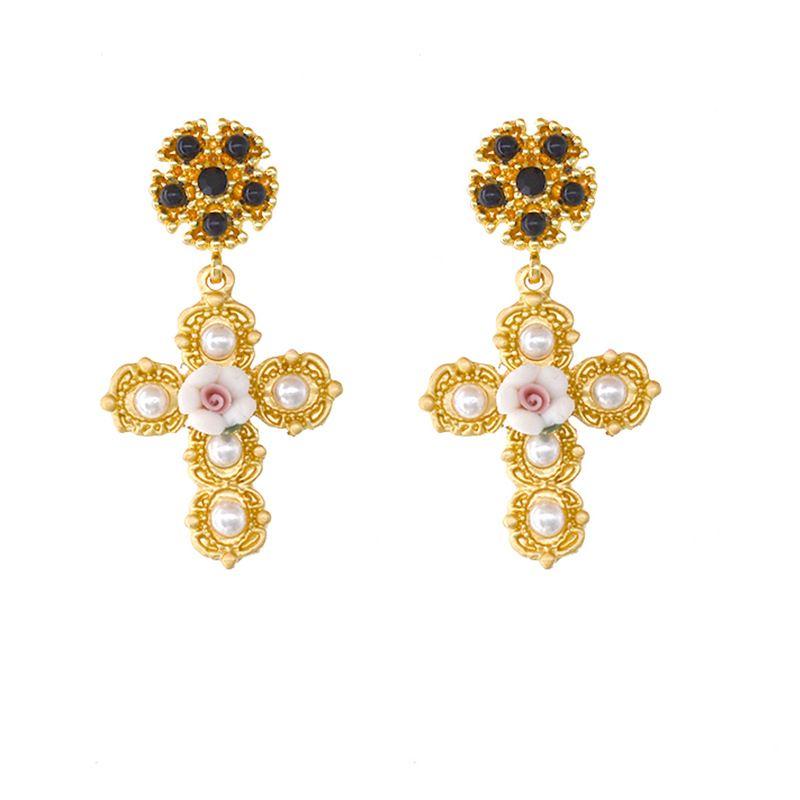 retro elegant gorgeous palace gem cross baroque ceramic flower pearl silver needle earrings wholesale nihaojewelry NHNT229442