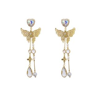 fashion Metal butterfly female 925 silver needle long earrings nihaojewelry wholesale NHNT229444's discount tags